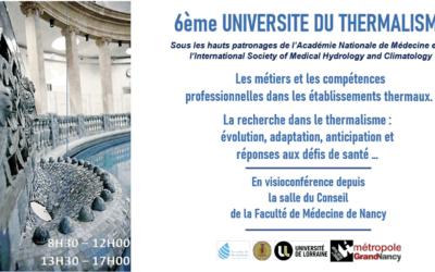 3 décembre (8h30-17h), webinaire : 6ème Université du Thermalisme