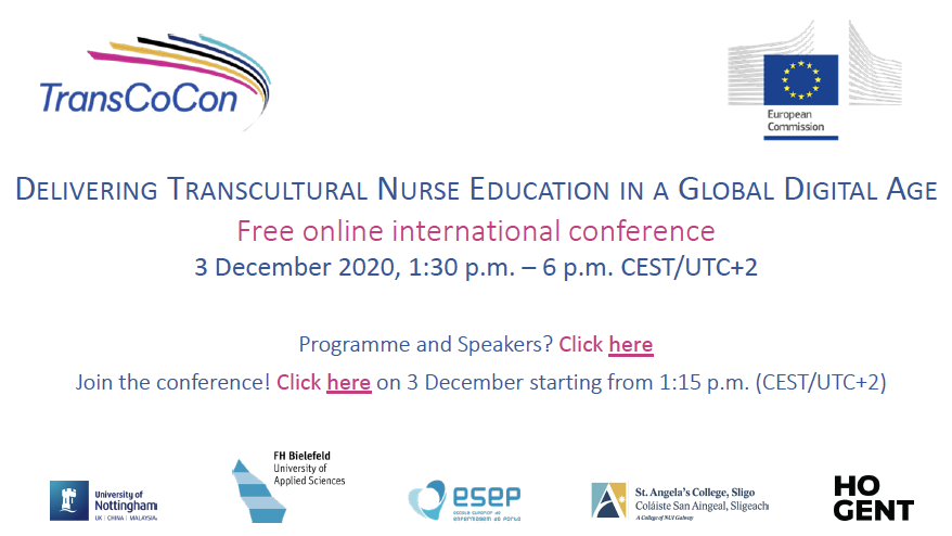 3 December 2020, 1:30 pm – 6 pm CEST/UTC+2 : Delivering Transcultural Nurse Education in a Global Digital Age (Free online international conference)